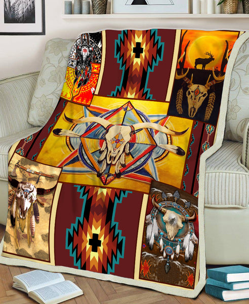 Native Buffalo Pattern Fleece Blanket