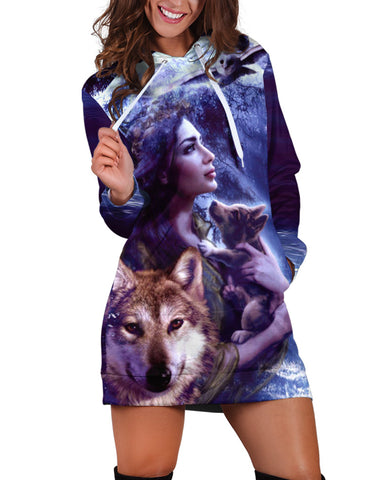 Wolf And Girl Hoodie Dress