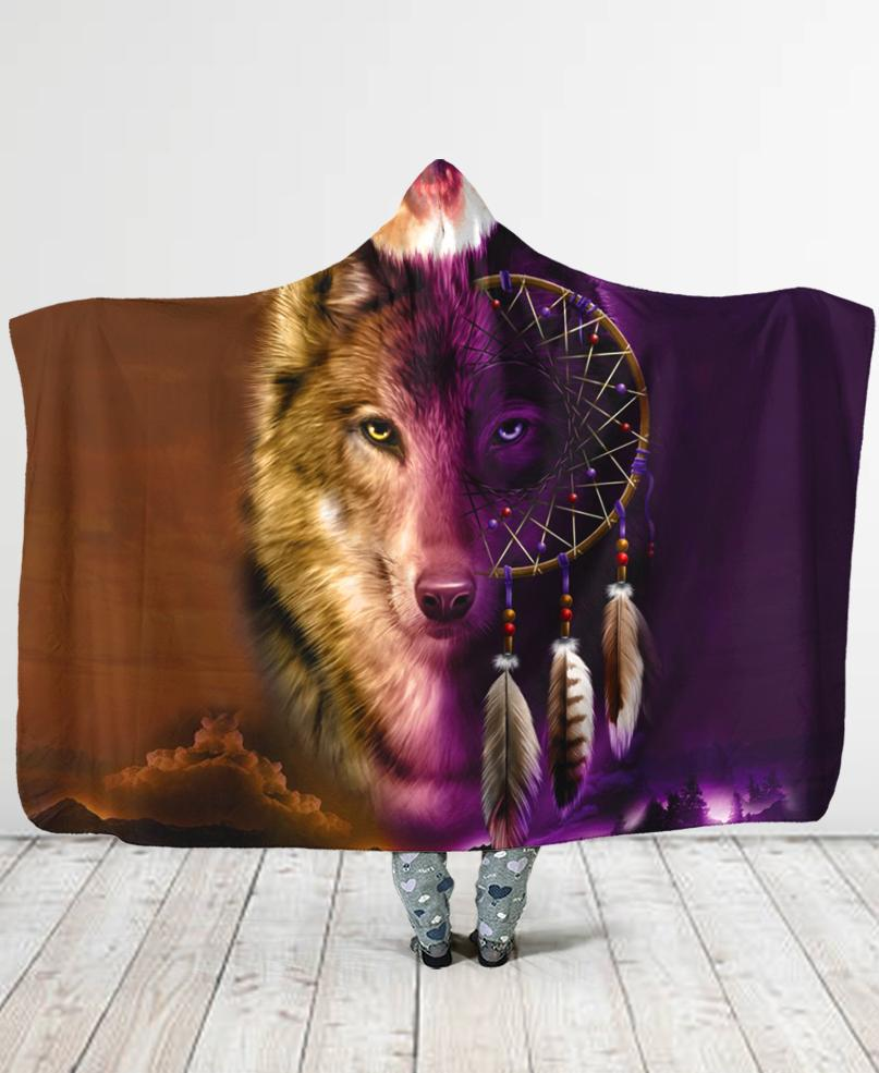 Wolf Native Hooded Blanket
