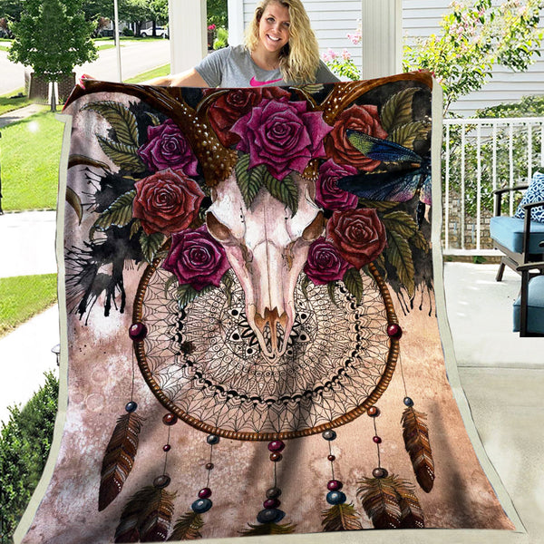 Dreamcatcher Rose Fleece Blanket