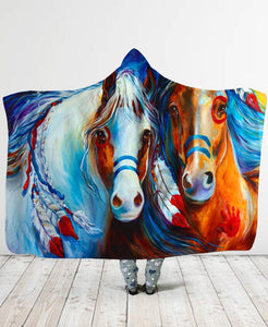 Colored Horse Hooded Blanket