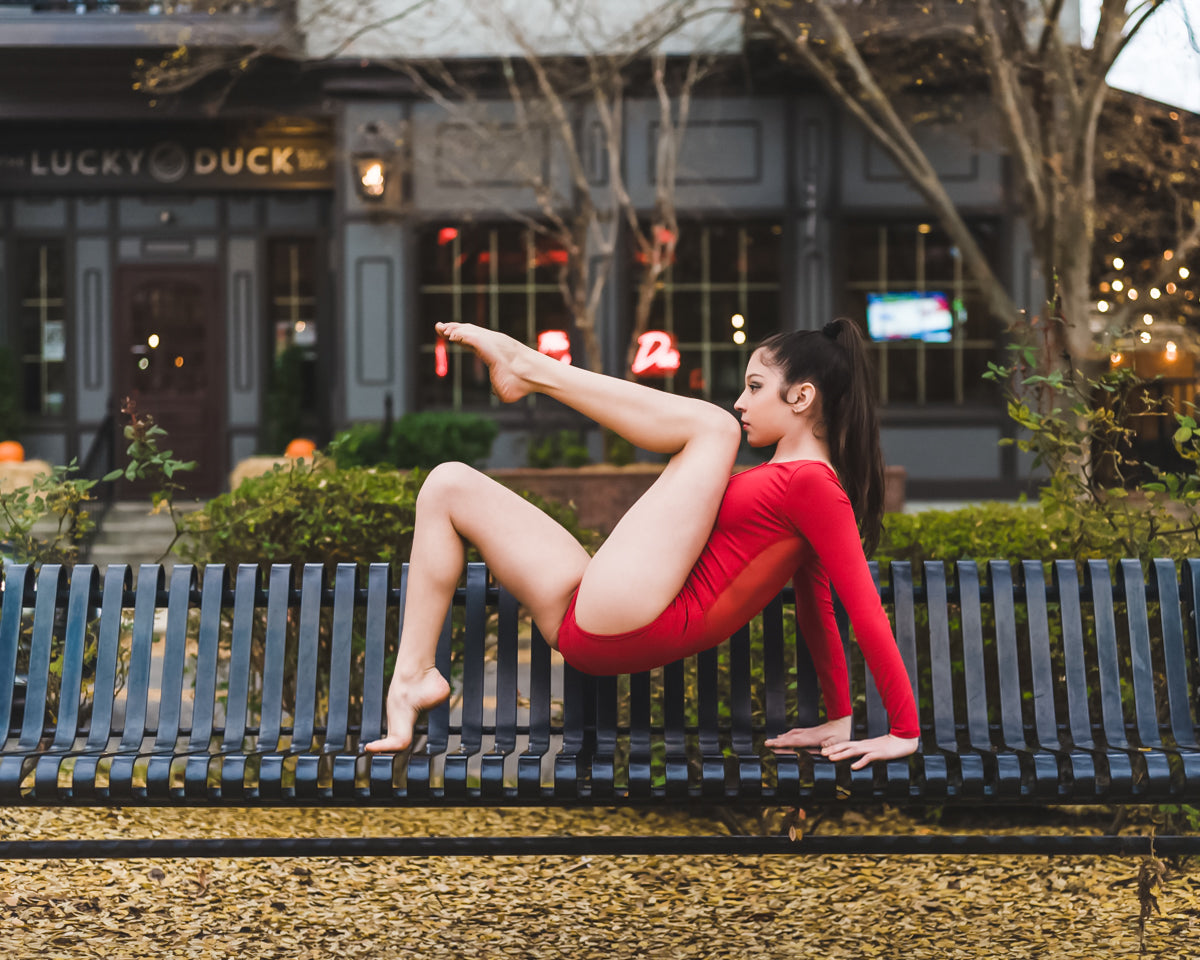 Red Mesh Center Leotard