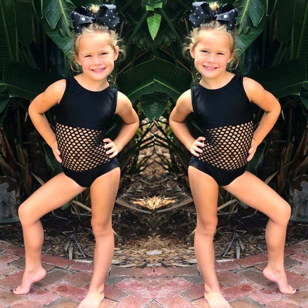 Basic Mesh Center Black Leotard