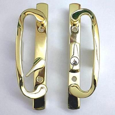 Sliding Glass Patio Door Handle Set Mortise Off Centered Brass Plated With Keys - Countryside Locks