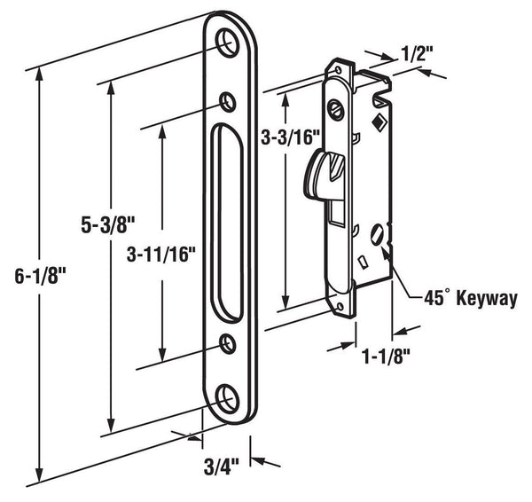 MORTISE LOCK WITH FACE PLATE, 45° SLOT, 5-3/8 SCREW HOLES, WOOD / VINYL DOOR - Countryside Locks