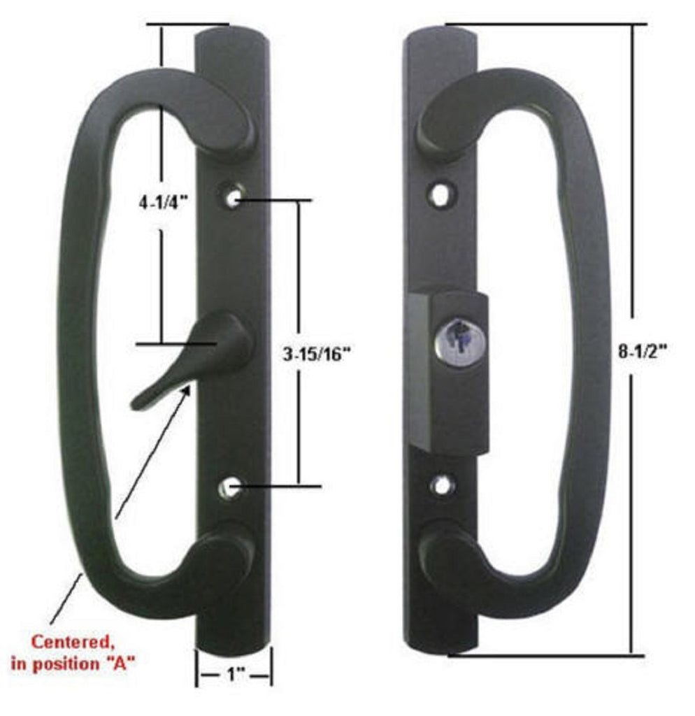 Sliding Glass Patio Door Handle Set, Mortise Type, A-Position, Keyed, Black - Countryside Locks