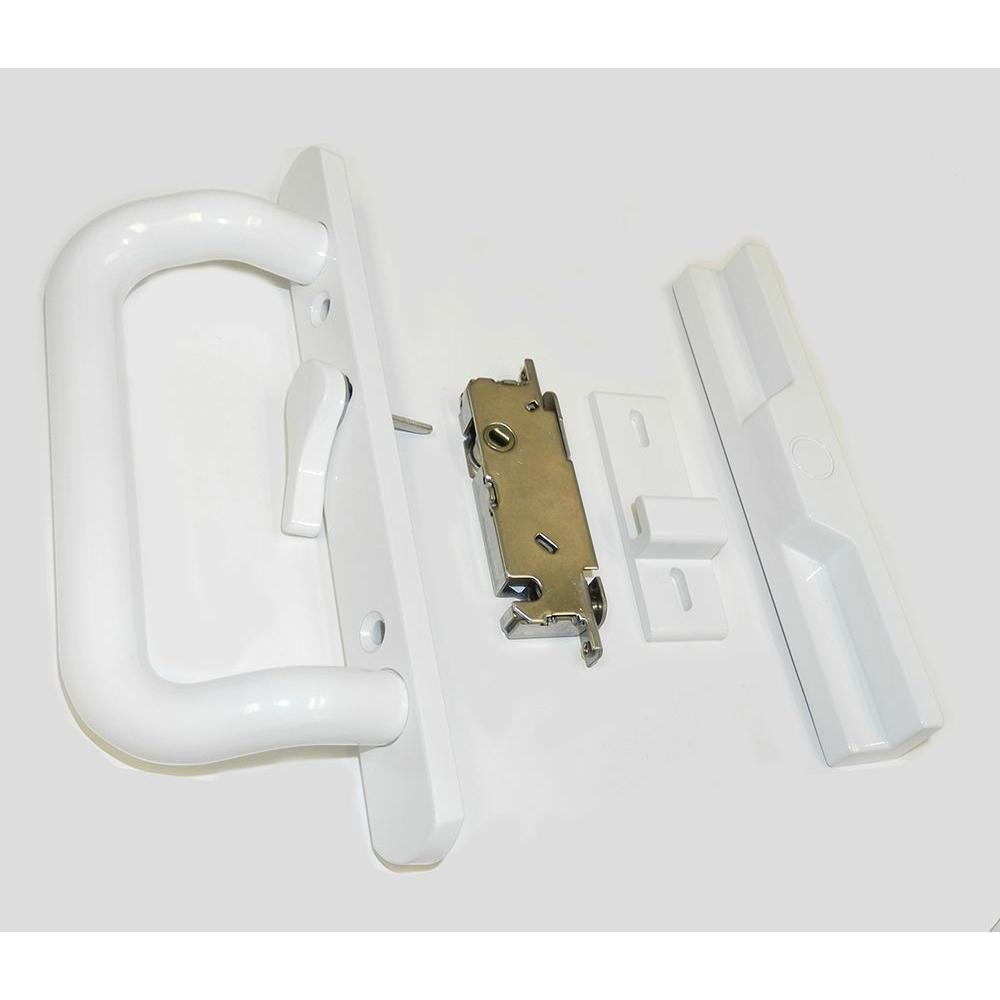 White Sliding Door Handle and Lock Set - Countryside Locks