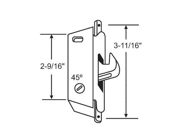 "Sliding Glass Patio Door Lock, Mortise Type, Type, 3-11/16"" Screw Holes - Countryside Locks"