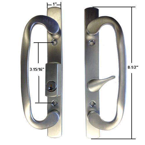 Sliding Glass Patio Door Handle Lock Set, Mortise Type, B-Position, Off Center Latch Keyed, Brushed Chrome - Countryside Locks