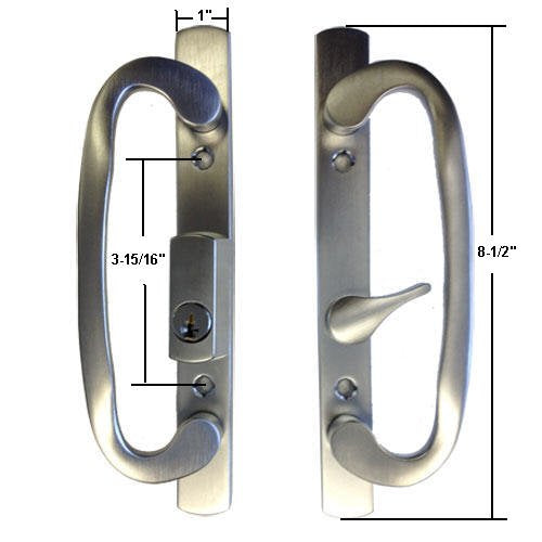 Sliding Glass Patio Door Handle Lock Set Mortise Type B-Position Off Center Latch Keyed, Brushed Chrome - Countryside Locks