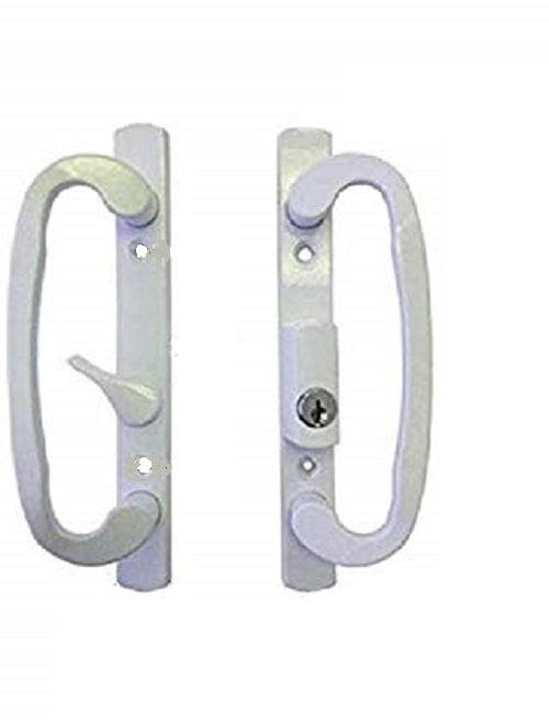 Sliding Glass Patio Door Handle Set Mortise Type B-Position Off Center Latch Keyed White - Countryside Locks