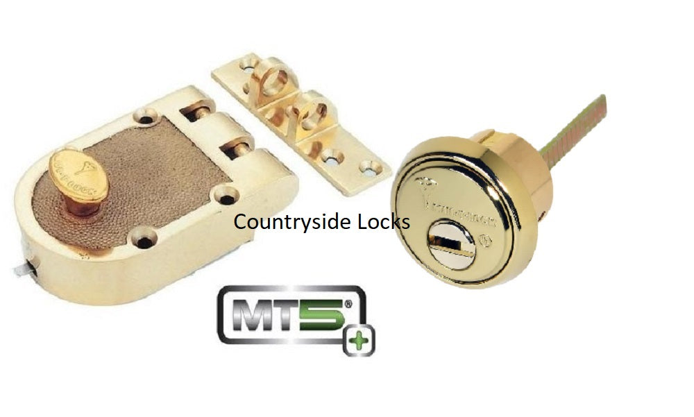 Mul-t-lock MT5+ Single Cylinder Jimmy Proof with Rim Cylinder - Bright Brass - Countryside Locks
