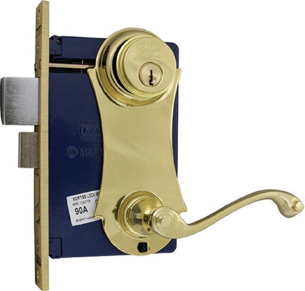 MARKS LOCK ORNAMENT 9215AC/3 UNILOCK LEVER/PLATE MORTISE LOCK FOR SECURITY DOOR / STORM DOOR POLISHED BRASS - Countryside Locks