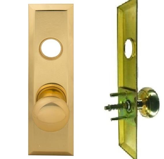 "Mortise Lock Escutcheon Plate 2-3/4"" X 10"" with Brass Door Knob & Cylinder Hole - Countryside Locks"