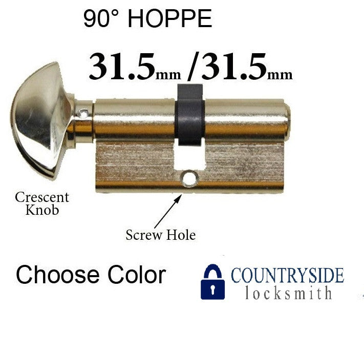 31.5 / 31.5 HOPPE NON LOGO 90 DEGREE KEYED PROFILE CYLINDER LOCK, SOLID BRASS - Countryside Locks