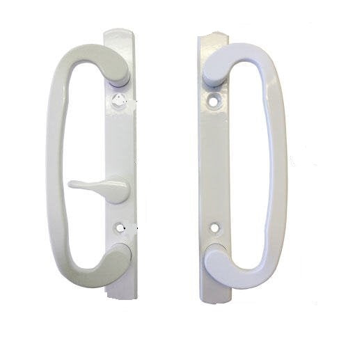Sliding Glass Patio Door Handle Set Mortise Type B-Position Off Center Latch Non-Keyed White