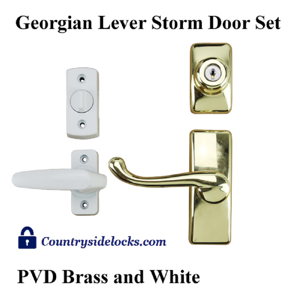 GEORGIAN STORM DOOR LEVER HANDLE SET & DEADBOLT- WHITE INSIDE / BRASS - Countryside Locks