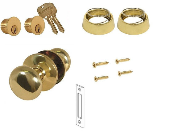 MARKS 22AC DOOR MORTISE LOCK TRIM SET - POLISHED BRASS - Countryside Locks