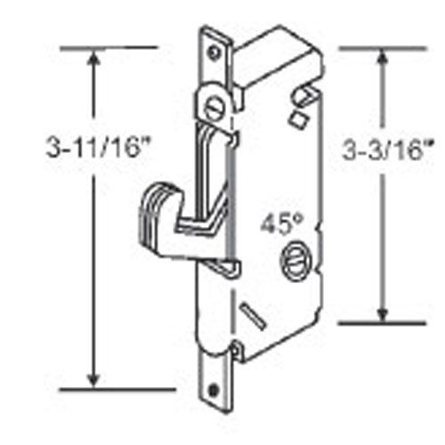 "Sliding Glass Patio Door Lock, Mortise Type, 45 Degree Keyway, 3-11/16"" - Countryside Locks"
