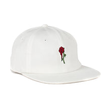 Rose 6 Panel Unstructured Hat (White)