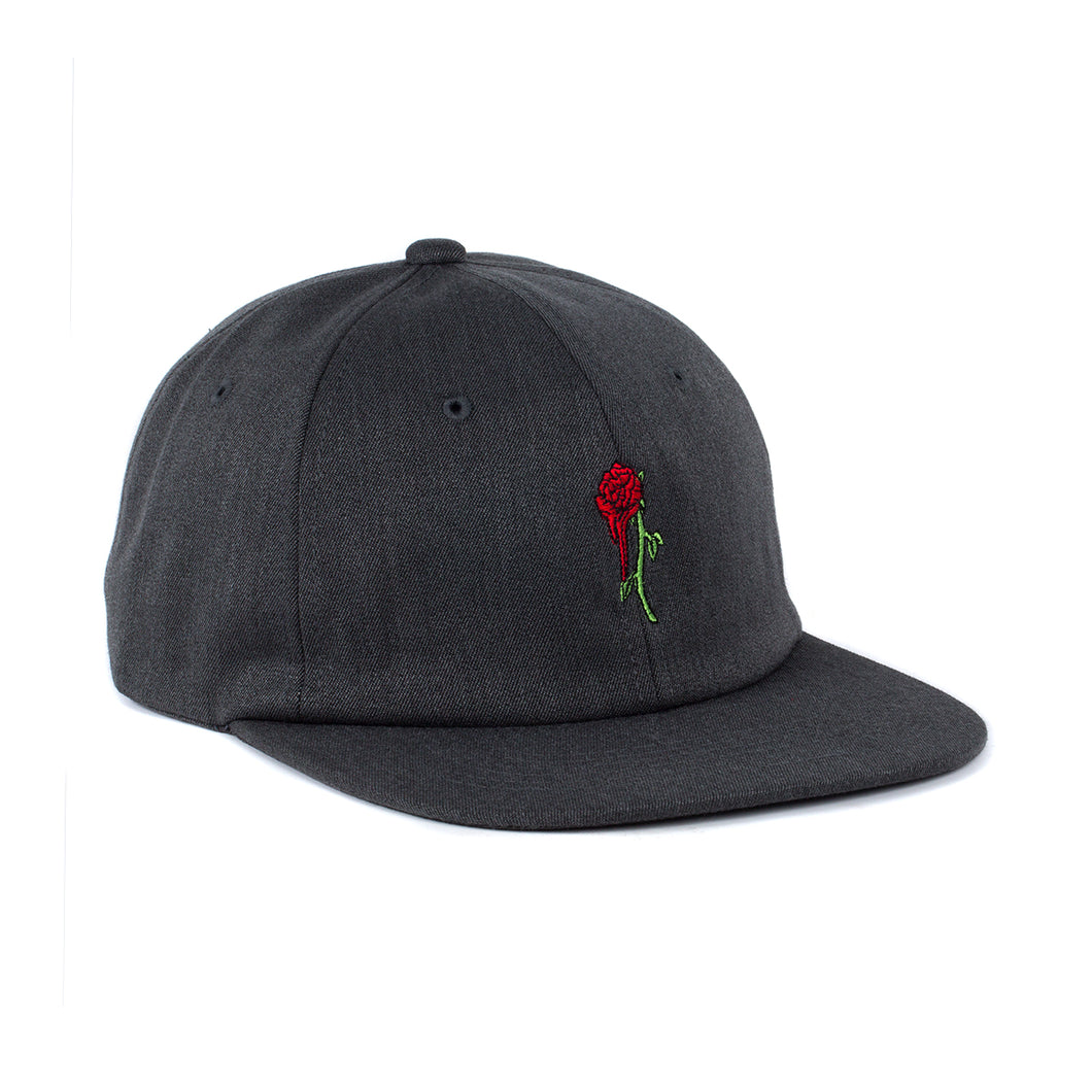 Rose 6 Panel Unstructured Hat (Charcoal)