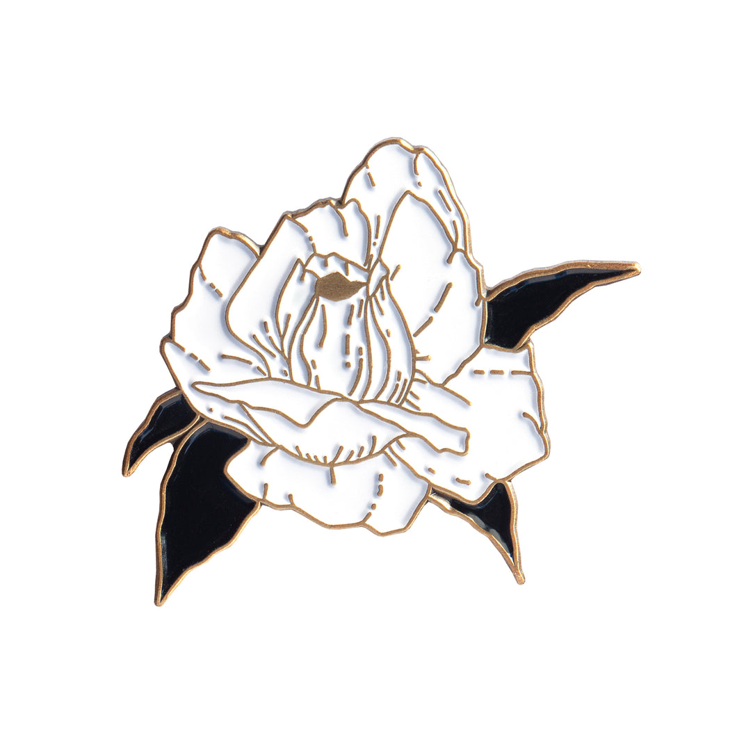 Blooming Rose Pin (Antique Gold)