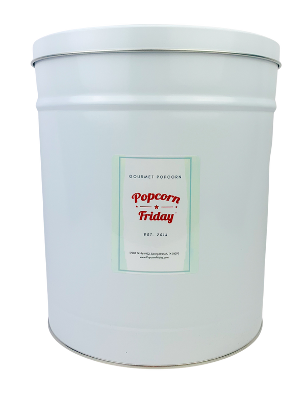 Popcorn Tin White- 3.5 Gallon