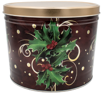 Popcorn Tin Boughs of Holly - 2 Gallon