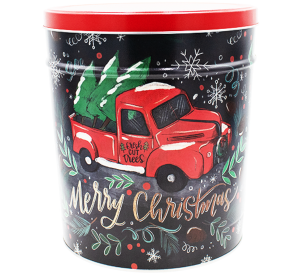 Popcorn Tin Tree Farm Truck- 3.5 Gallon Tin