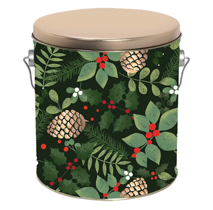 Popcorn Tin Golden Pinecones- 1-Gallon