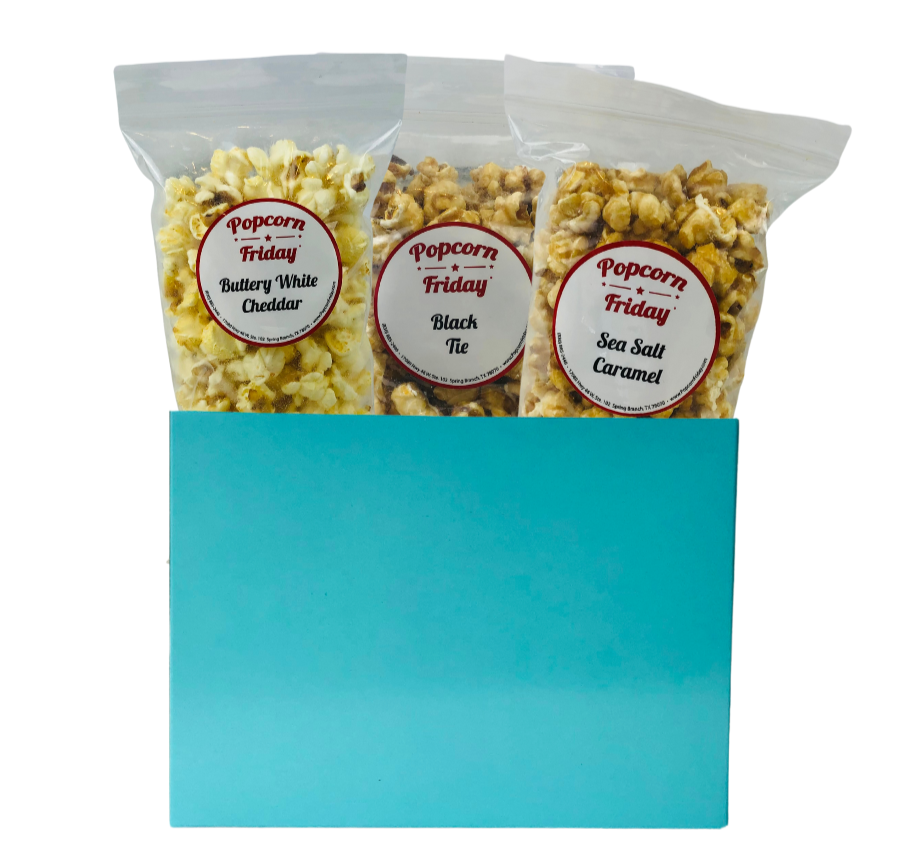 Popcorn Gift Basket-Small Solid Aqua Blue