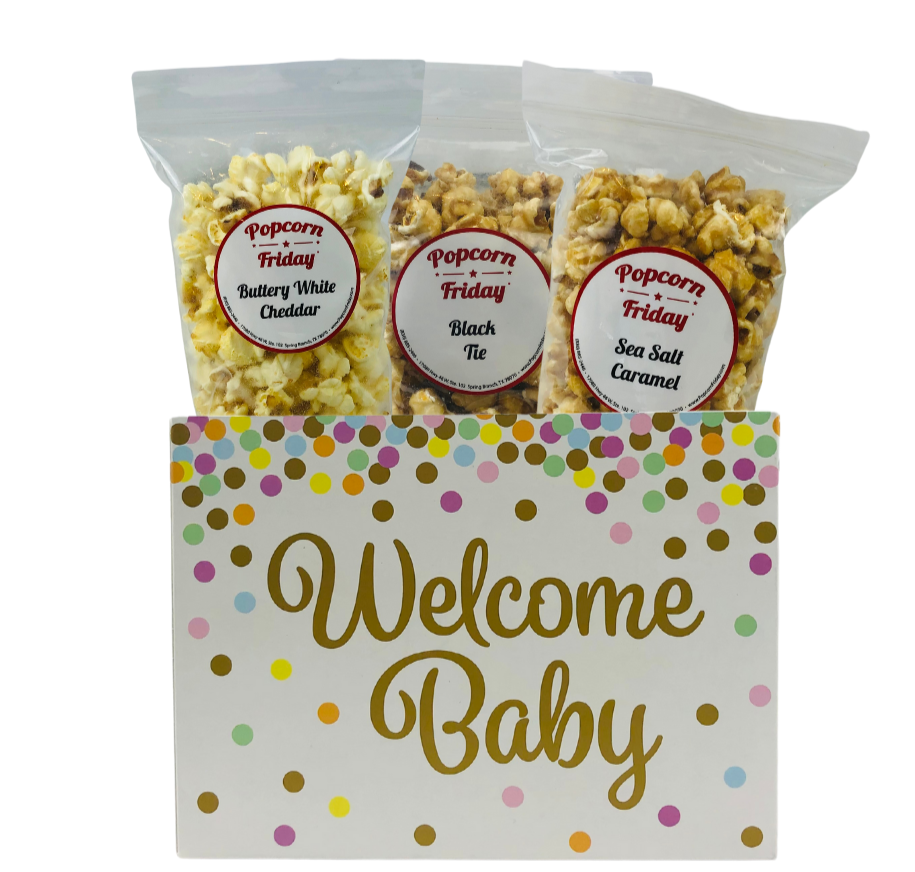 Popcorn Gift Basket Small-Welcome Baby Confetti