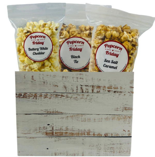 Popcorn Gift Basket Small-Distressed Wood