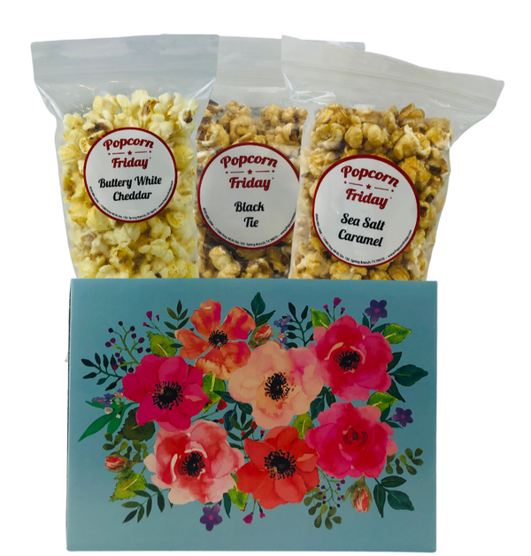 Popcorn Gift Basket Small-Watercolor Flowers
