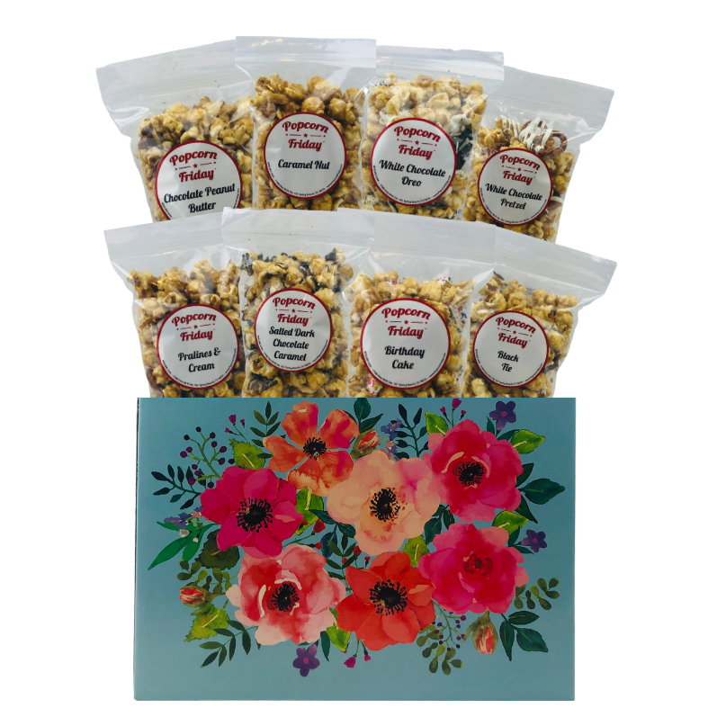 Popcorn Gift Basket Large- Watercolor Flowers