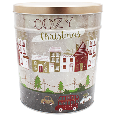 3.5 Gallon Cozy Christmas Tin - Popcorn Friday