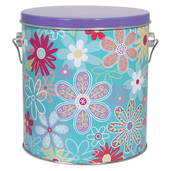 Popcorn Tin Flower Blossom- 1-Gallon