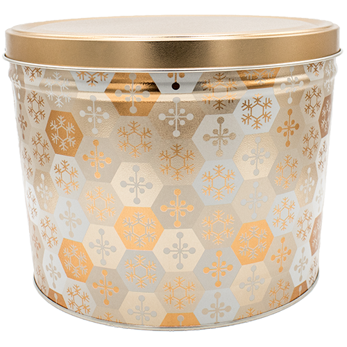 2 Gallon Gold/White Snowflake Tin - Popcorn Friday