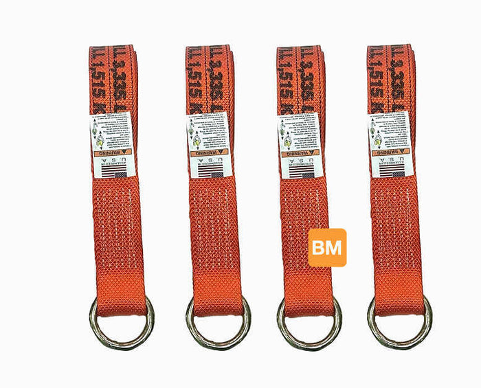 4-Pack ORANGE Lasso Straps Diamond Weave Webbing