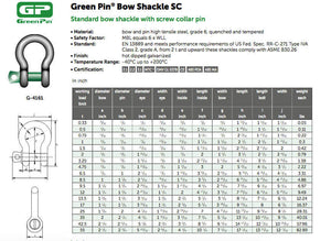 Van Beest G-4161 Screw Pin Anchor Shackle Green Pin SPECIFICATIONS IN INCHES