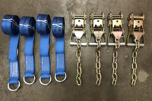 Tie Down Kit Wheel Lift Straps w/ Chain Ratchets Diamond Weave BLUE