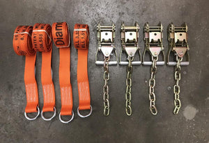 Tie Down Kit Wheel Lift Straps w/ Chain Ratchets Diamond Weave ORANGE
