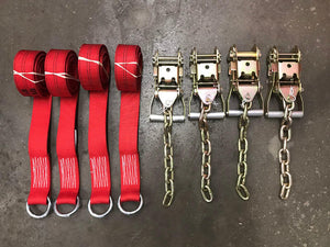 4-Point Tie Down 8 FT Wheel Lift Straps w/ O-rings and Chain Ratchets Diamond Weave RED