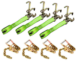 8' Cluster RTJ Hi-Viz Straps & Chain Ratchets Tie Down Kit