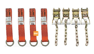 TUPARTS Four Point Tie Down Kit Wheel Loop Straps and Chain Ratchets