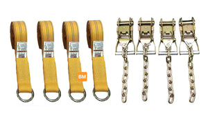 4-pt Tie Down Kit Lasso Straps w/Chain Ratchets Diamond Weave YELLOW
