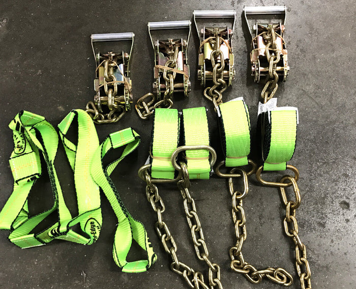 8-Point Tie Down Kit HI VIZ GREEN  All-Grip - Roll Back Towing Car Carrier Straps