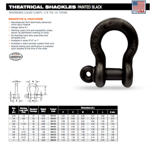 CM Theatrical Screw Pin Anchor Shackles specs