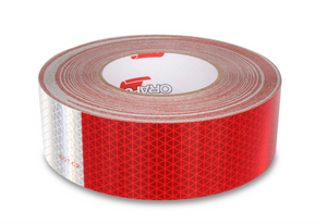 "2"" x 150' Roll - Red/White Reflective Conspicuity Tape - Made in USA."