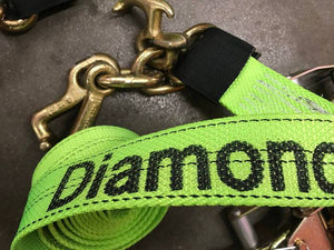 10' Cluster RTJ Straps & Chain Ratchets Diamond Weave Tie Down Kit - HI Viz GREEN